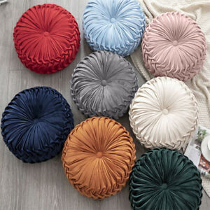 Velvet Pleated Round Cushion Sofa Couch Throw Pillow Pumpkin Pad Seat Home Decor