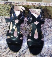 Women's Franco Sarto Sandal Heels Black Patent Leather Size 8 1/2 M Worn Once