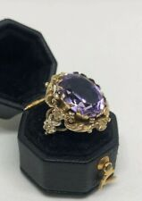 Gorgeous Heavy Antique / Vintage Large Floral Ornate Amethyst 9ct Gold Ring P