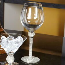 Set 4 Diamond Glitz Sparkle Red Wine Glass Glasses Feature Diamante Stem Drinks