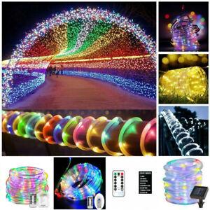 Waterproof Solar Battery LED Strip Rope Tube Fairy String Light Garden Lights