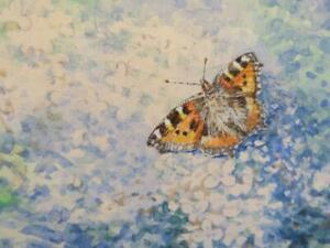 really old PAINTING water colour BUTTERFLY signed IR OATES