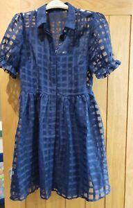 Oasis Size 14 Navy Organza dress