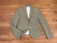 Barney's New York Womens Virgin Wool Jacket Blazer Sage Green Geo print 40 Italy