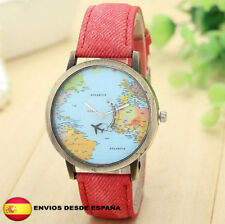 Reloj World Traveler mapa mundial avión retro vintage unisex color ROJO