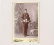 1880's S.Mortensen Photographer Iron Mountain Mich. Musician Uniform Brass Horn
