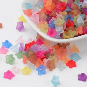 175 pc Frosted Transparent Color Mix Acrylic Flower Beads Jewelry Crafts 5x10mm