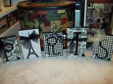 Shabby Paris chic decor blocks sign Eiffel Tower black and white toile French