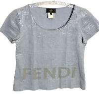 Fendi Authentic Vintage 90s Logo Bubble Wrap Sequin Crop Tee Baby Blue 42 US S