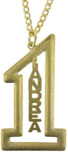 "Vintage Gold Tone Number #1 Name Plate Pendant 2 1/2"" + Necklace 22"" - Andrea"