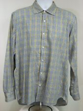 "Scott James Mens 16 1/2"" / 42cm Dress Shirt Long Sleeve Button Plaid Cotton-G11@"