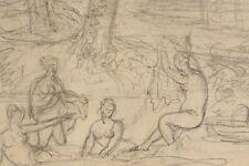 Um 1850 Bleistiftskizze Antikisierende Landschaft mit Badenden Frauen Antik