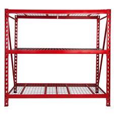 Red Steel Metal Storage Rack 3 Level Heavy Duty Industrial Garage Shelf Organize