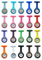 Silicone Nurses Brooch Tunic Fob Medical Watch Free Battery 20 Colours Pocket