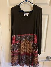 DG2 By Diane Gilman XL Brown/Milti Color Long Sleeve Lined Dress