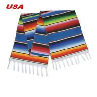 USA Mexican Serape Table Runner Fringe Cotton Tablecloth Party Home Room Decor