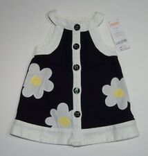 NWT Gymboree Bee Chic 3-6 Months Black Daisy Flower Pique Mod Dress