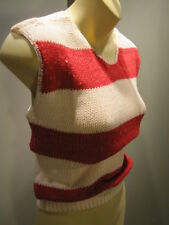 NOS 80S DEADSTOCK 2 TONE RED STRiPED YAUGHTiNG SKA SWEATER TANK TOP ROCKABiLLY S