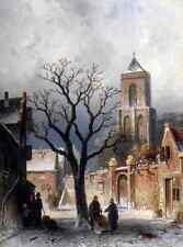 Leickert Charles Henri Joseph A Village Snow Scene A4 Print