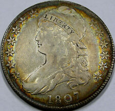 1807 O-114 Lg. Stars Capped Bust Half Choice EF+... with NICE ALBUM RIM TONING!!