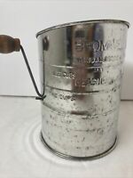 Vintage Bromwell's Measuring Flour Sifter 1-3 Cup red Wood Knob Handle