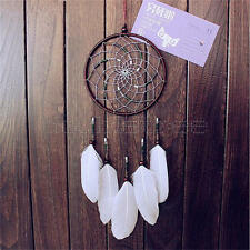 Handmade Dream Catcher With White Feathers Car Wall Hanging Decoration Ornament