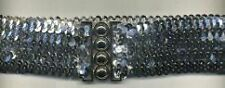 "SILVER SEQUIN BELT 2"" WIDE NEW 26' (STRETCHES 29""- 43 1/2"")(USA FREE SHIP)"