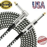 "10ft NOISELESS Electric Guitar Bass Cable Pedal AMP Cord 1/4"" NEW CERTIFIED USA"