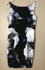 Milly Sheath Dress Black Blue Floral Flower Sz 6 Cotton Stretch Zipper Back