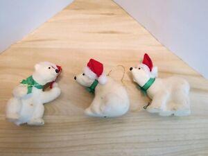 Vintage Flocked White Polar Bear Christmas Ornaments.
