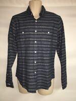 Express Button Front Shirt Mens Medium Navy Stripes Linen Blend NWT $69