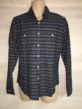 Express Button Front Shirt Mens Large Navy Stripes Linen Blend NWT $69