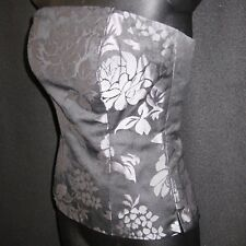 Sz 0 Corset White House Black Market Black Pewter Floral Tube Top Bustier Blouse