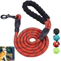5FT Strong Dog Leash Climbing Rope Pet Training Handle Reflective Threaded Nylon