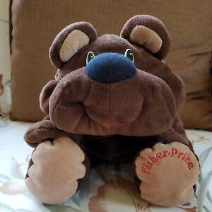FISHER PRICE 1993  Brown Rumple Bear Floppy Plush Soft Happy Stuffed Animal