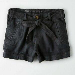 NWT American Eagle Hi Rise Tie Waist Linen Blend Shorts Sz 6 Small Black Grey