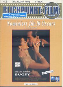 Blickpunkt Film Nr. 9 1992 17. Jahrgang Kino Warren Beatty Annette Bening Bugsy