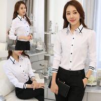 Women Fashion Formal Work Office White Shirt Long Sleeve Blouse Tops S-5XL
