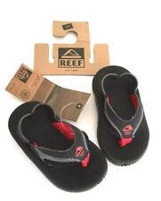 REEF Kids Slap II Toddler Sandals Flip Flops Black Heel Strap NWT Size 3/4