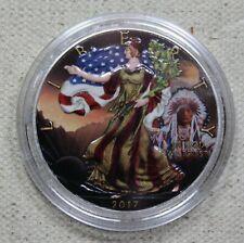 2017 AMERICAN EAGLE INDIAN CHIEF COLORIZED 1oz .999 Silver Coin - BOX & COA