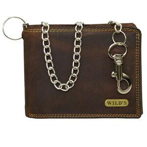 Herren Vintage Vollleder Geldbörse Brieftasche Querformat mit Hosenkette (dunkel