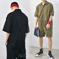 Mens Vintage Casual Loose Drawstring Jumpsuits Shorts Rompers Overalls Dungarees