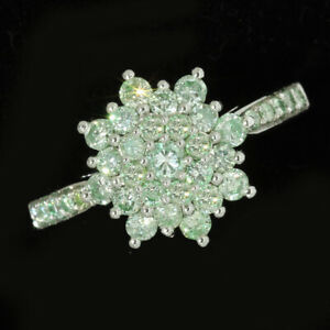 1Ct Natural Green Diamond 10K White Gold Ring Color Enhanced RGG65-10-7-2