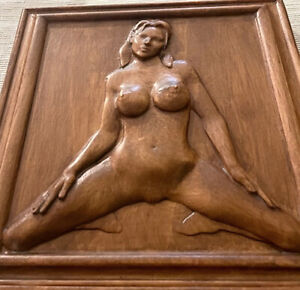 """Wood Carving Nude 8"""" x 7"""" x 1.25""""  Free Standing - Wall Bas-Relief OP 01"""