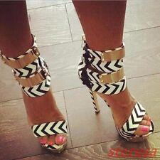 Womens Striped Open Toe Platfrom Stiletto High Heels Gladiator Roman Sandals Sz