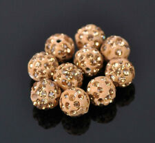 Set of 6 Paved Glass Crystal Rhinestone Disco Ball Beads 10mm Golden Topaz