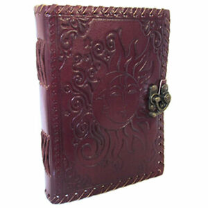 """NEW Sun and Moon Leather Journal 5x7"""" Unlined Handmade Blank Book w/ Latch"""