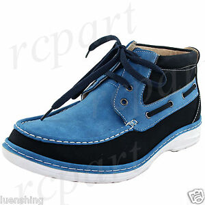 New men's shoes casual fashion lace up style oxfords synthetic suede blue navy