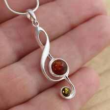 Baltic Amber 925 Sterling Silver Treble Clef Music Note Pendant  Jewellery