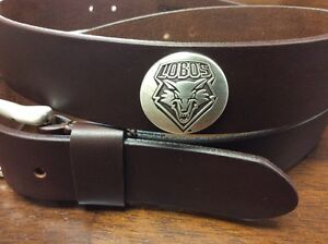 Men's Brown Genuine Leather With University Of New Mexico Lobos Conchos 42  RLE